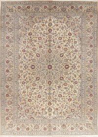 Vintage Ivory Floral Kashan Persian Wool Area Rug 10x13