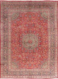 Traditional Floral Red Kashmar Persian Wool Area Rug 9x13