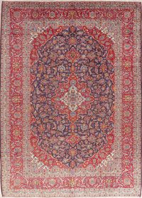 Vintage Navy Blue Floral Kashan Persian Area Rug 9x12