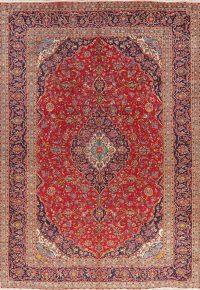 Vintage Floral Red Kashan Persian Area Rug 9x13