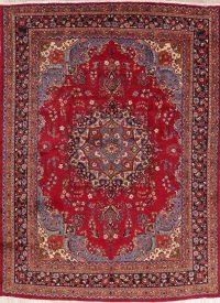 Vintage Floral Red Mashad Persian Wool Area Rug 10x13