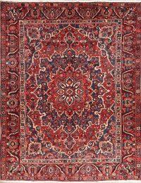 Vintage Floral Red Bakhtiari Persian Wool Rug 10x13
