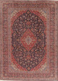 Traditional Navy Blue Kashan Persian Wool Area Rug 9x13