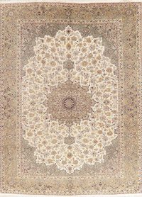Vintage Floral Ivory Najafabad Persian Wool Area Rug 10x13