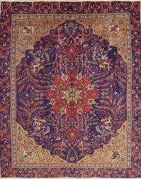 Vintage Floral Tabriz Persian Wool Area Rug 9x11