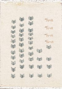 Tribal Ivory Gabbeh Zollanvari Persian Wool Rug 2x2 Square