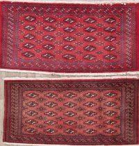 Set of 2 Red Geometric Bokhara Oriental Wool Rugs 2x4