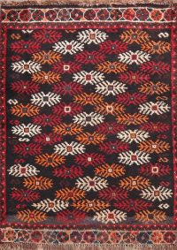 Vintage Geometric Black Balouch Oriental Wool Rug 2x3