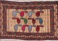 Vintage Geometric Bokhara Oriental Wool Rug 2x3