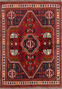 Red Geometric Shiraz Persian Wool Rug 3x5