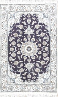 Floral Navy Blue Nain Persian Wool Rug 4x6
