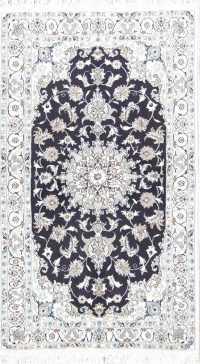 Floral Navy Blue Nain Persian Area Rug 4x7