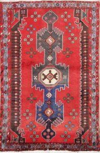 Vintage Geometric Hamedan Persian Wool Rug 4x5