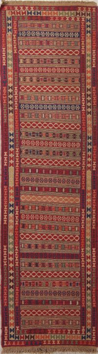 Geometric Kilim Shiraz Persian Wool Runner Rug 3x9