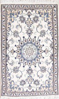 White Floral Nain Persian Wool Rug 3x5