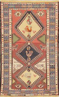 Hand-Woven Rust Geometric Kilim Shiraz Persian Rug Wool 3x5