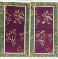 Pack Of 2 Floral Purple Art Deco Chinese Oriental Rug 2x4