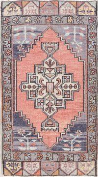 Geometric Oushak Turkish Hand-Knotted Rug Wool 2x3