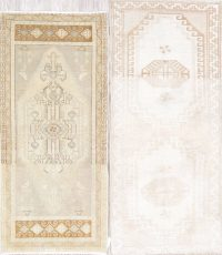 Pack Oft Two Geometric Oushak Turkish Hand-Knotted Rug Wool 2x4