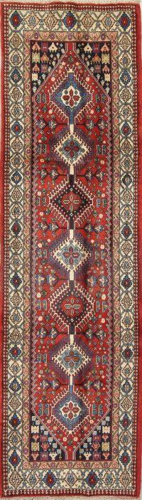 Vintage Geometric Red Yalameh Persian Runner Rug 3x10