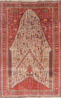 One of a Kind Tribal Geometric Kashkoli Persian Hand-Knotted 5x8 Wool Area Rug