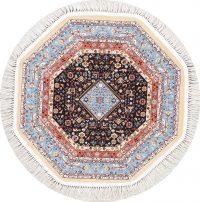 Black Geometric Tabriz Turkish Oriental Rug 3x3 Octagon
