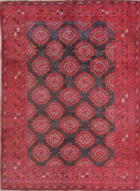 Vintage Charcoal/Red Balouch Bokhara Persian Area Rug 6x9