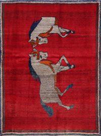 Vintage Animal Pictorial Gabbeh Persian Wool Rug 4x6