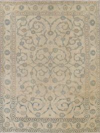 Antique Isfahan Sage Green Persian Area Rug 10x13