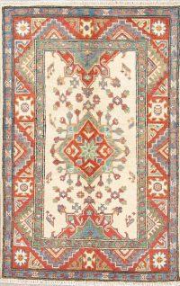 Ivory Geometric Kazak Pakistan Wool Rug 3x4