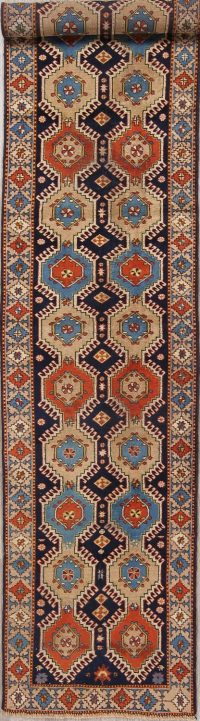 Antique Geometric Yalameh Persian Runner Rug 3x13