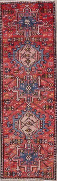 Vintage Tribal Red Gharajeh Persian Wool Runner Rug 2x5
