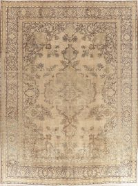 Floral Tabriz Muted Distressed Persian Area Rug 10x13