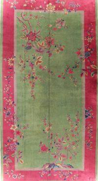 Green Vegetable Dye Art Deco Oriental Wool Rug 10x19