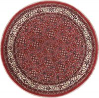 Geometric Red Agra Indian Wool Rug 8x8 Round