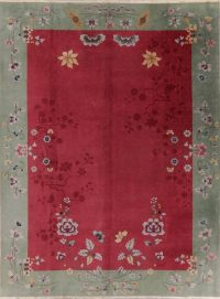 Vintage Floral Art Deco Chinese Oriental Area Rug 9x12