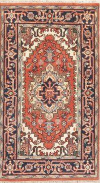Orange Geometric Heriz Indian Wool Rug 3x5