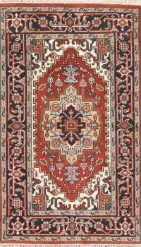 Red Geometric Heriz Indian Wool Rug 3x5