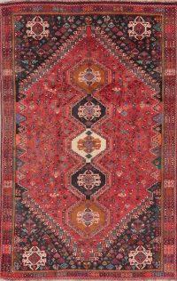 Vintage Tribal Red Abadeh Nafar Persian Wool Rug 5x8
