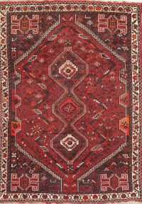 Vintage Tribal Red Shiraz Persian Wool Rug 6x8