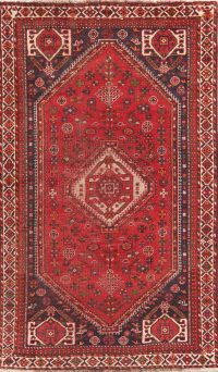 Antique Tribal Red Shiraz Persian Area Rug 5x8