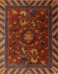 Vintage Orange Art Deco Persian Wool Area Rug 8x10