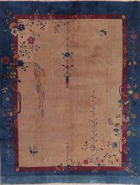 Antique Floral Art Deco Oriental Wool Rug 9x12