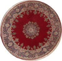 Vintage Floral Kerman Persian Wool Rug 10x10 Round
