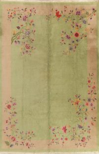 Green Floral Art Deco Oriental Wool Rug 9x12