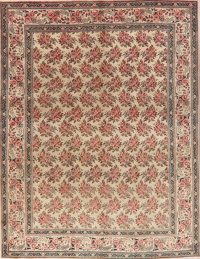 Antique All-Over Floral Beige Tabriz Persian Area Rug 9x12