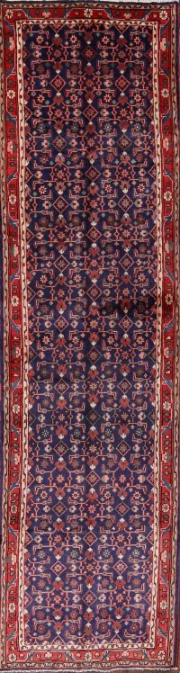 Navy Blue Malayer Hamadan Persian Runner Rug 3x13