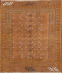 Vintage Geometric Balouch Oriental Wool Rug 2x2 Square