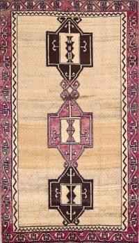 Vintage Geometric Gabbeh Persian Area Rug 4x7