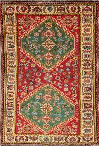 Vegetable Dye Qashqai Shiraz Persian Hand-Knotted 5x7 Wool Area Rug